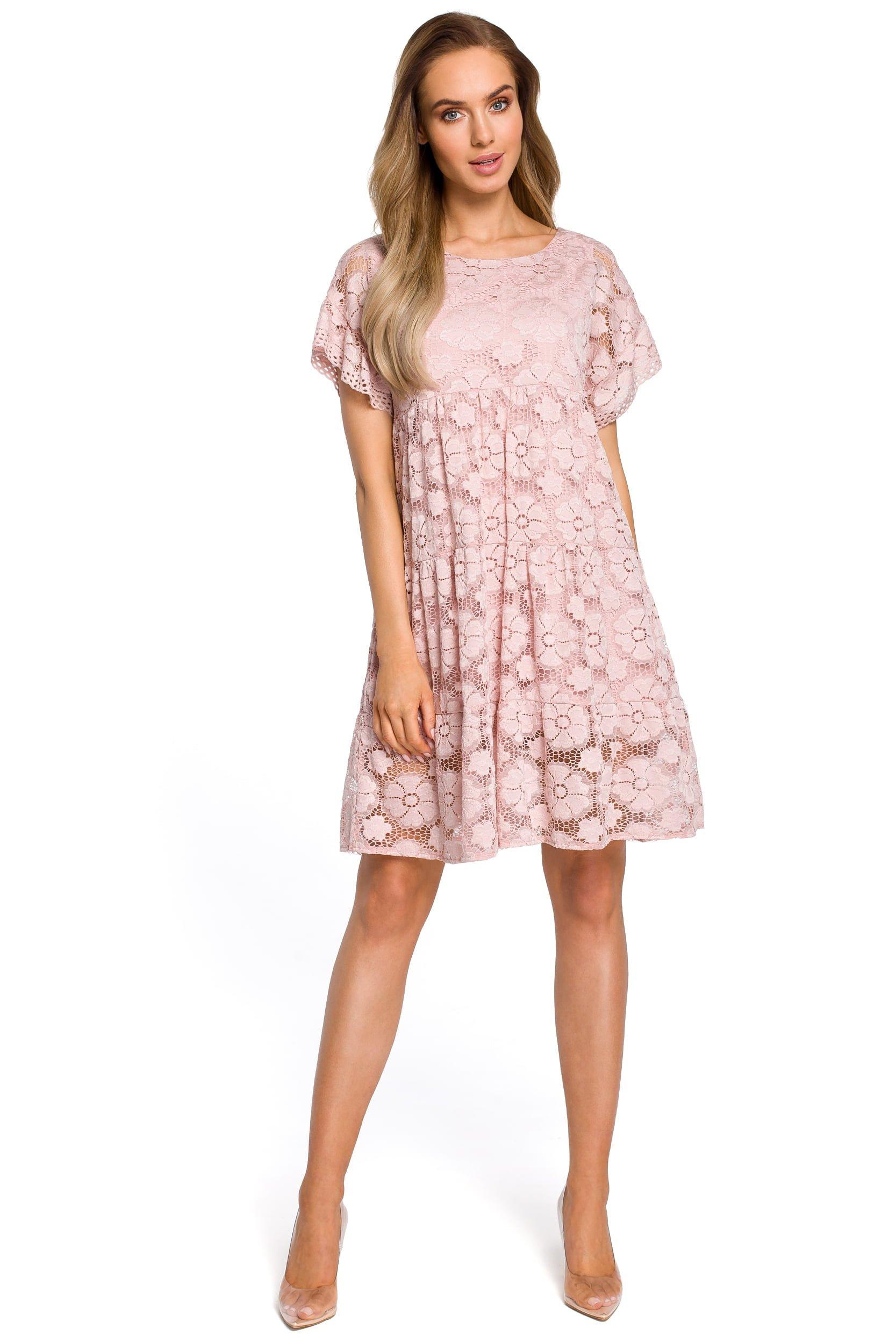 5edbb1d874 Luźna sukienka koronkowa - różowa - mavazi
